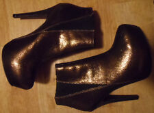 """WOMENS ROCK & REPUBLIC SHOES-BOOT STYLE-4 3/4"""" HEELS-GOLD""""LAME""""WORN ONCE -SIZE 6"""