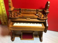 Vintage Dollhouse Miniature Wooden Pump Organ with Roll Top