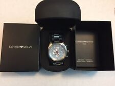Emporio Armani AR5958 Men's Sport Silver Chronograph Stainless Steel Watch NEW