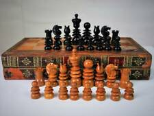 ANTIQUE ENGLISH EBONY CHESS SET AND MOROCCAN CHESS BACKGAMMON BOARD