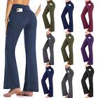 Women Yoga Pants Fold Over Cotton Fitness Workout Waist Lounge Bootcut Stretch