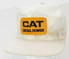 Vintage CAT Caterpillar Diesel Power Mesh Trucker White Hat Snapback Cap A19