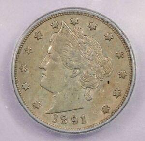 1891-P 1891 Liberty V Nickel ICG AU50