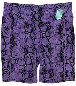 LuLaRoe Rise Driven - Biker Shorts - Purple & Black Snakeskin - Size 1X - #4313