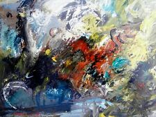 """CHALOU Pierre (1942-2003) """"Abstraction"""" Huile s/papier marouflée sur toile 1989"""