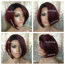 Lace Front Wig Human Hair Blend Red Burgundy Bob Dark Root Straight Heat Safe Ok