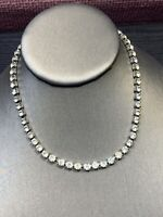 Stunning 1950's Clear 5 Mm Rhinestones Vintage Necklace Wedding Flower Girl 14""