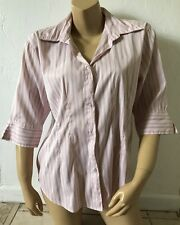 FASHION BUG Womens Size Large Striped 3/4 Sleeve Button Front Shirt Career Work