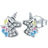 Cute 925 Sterling Silver Rhinestone Unicorn Stud Earrings Womens Wedding Jewelry