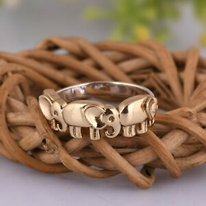 Connected Elephant Band Ring 18k Gold Plated 925 Silver Lucky Daily Wear Ring