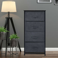 Fabric Dresser Organizer with 4 Drawers Steel Frame Wood Top Storage Tower