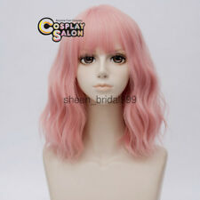 35CM Lolita Light Pink Medium Hair Curly Women Party Cosplay Wig Heat Resistant