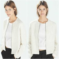 ZARA Ecru Off White Jacket Coat Woman Authentic BNWT RRP £69.99 S 7521240