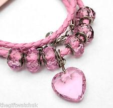Henley Donna collana o braccialetto, cordino Rosa, Perle & Cuore sfaccettato, versatile