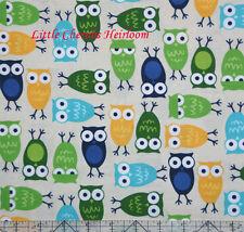 "Robert Kaufman Ann Kelle ""Urban Zoologie"" Owls Blue Fabric"