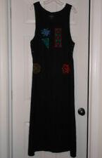 POSITIVE ATTITUDE 100% LINEN BLACK JUMPER DRESS COLORFUL STENCIL DESIGN L