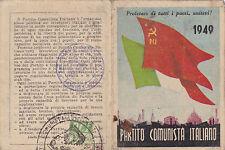 TESSERA P.C.I. 1949 BOLLATA FEDERAZIONE DI SAVONA 1-199