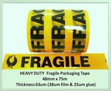 12 HEAVY DUTY Fragile sticky packing packaging tape 48mm x  75m - 63um thickness