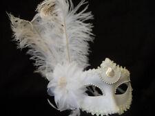 WHITE OSTRICH FEATHERS MASQUERADE MASK,Elegant & Beautiful
