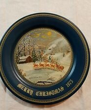 "Vintage Christmas Tin Plate Arrival of Santa Claus 1975 Coated Metal 10"" Diamete"