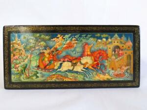 """Russian Lacquer Box w/ Russian Text & Signed 9 3/4"""" x 4 1/2"""""""