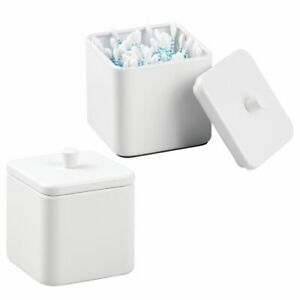 mDesign Square Metal Bathroom Vanity Canister Apothecary Jar, 2 Pack - White