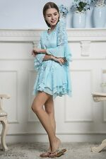 PLUS 1X BOHO BOHEMIAN HIPPY GYPSY A-LINE BELL SLEEVE TUNIC TOP BLOUSE TURQUOISE