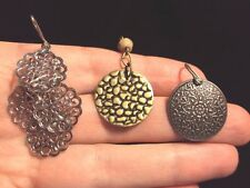 Star flower Leopard textured gold + scrolled silver dangle hook earrings 3 pairs