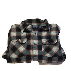 Pendleton Men's Vintage Plaid 100% Virgin Wool Flannel Button Up Shirt L Red