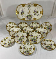 "AKCD LIMOGES Set 13 GOLD ENCRUSTED 7"" Plates  Platter Tray Hand Paint Violets"