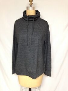 32 Degrees Fleece Quilted Funnel-Neck Top TLF82572ME  Charcoal NWT