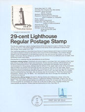#7808 29c Lighthouse Stamp #1605 USPS Souvenir Page