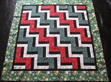 """Fence Rail Quilt Top ~Patchwork -Pieced """"Christmas Candy"""" Baby,Wall, Lap 49"""""""