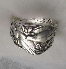 Silver Spoon Oxidized Adjustable Ring, Vintage Patricia Bird Design