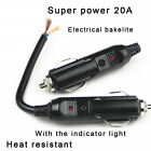 Auto Car 12V Male Cigarette Lighter Socket Plug Connector With 20A Fuse LED