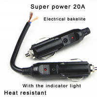 Auto Car 12V Male Cigarette Lighter Socket Plug Connector With 20A Fuse LED