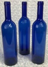 3 Empty Blue Wine Bottles Home Making Diy Re-enactments B Emblem 70 mm