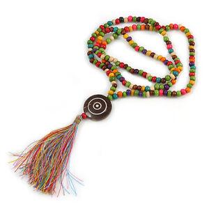 Cotton Tassel Wooden Bead Long Necklace in Multi/ 90cm L/ 15cm Tassel