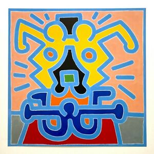 """KEITH HARING ESTATE RARE 1999 LITHOGRAPH PRINT POP ART POSTER """" UNTITLED """" 1988"""