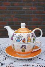 """Zauberhaft: Tea for One  """" Blumen """" in Orange aus Qualitätsporzellan"""