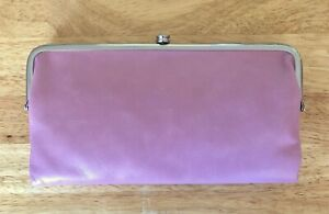 Nwt Women's Hobo Leather Double Frame Clutch Wallet, Lauren, Lilac