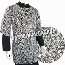 ALUMINIUM ROUND RIVETED CHAINMAIL SHIRT CHAIN MAIL ARMOUR COSTUME L SIZE cf1