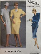 Vogue 1862 Albert Nipon Misses Dress Top Skirt Sewing Pattern FF Uncut Sz 14 Vtg