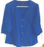 Womens NEW YORK & Co~BLUE BLOUSE~sz MEDIUM~NWOT~Button Down Shirt Top 3/4 Sleeve