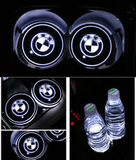 2PCS Colorful LED Car Cup Holder Pad Mat Fit for BMW Auto Atmosphere Lights Gift