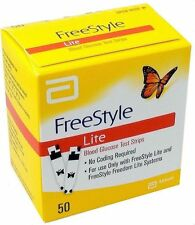 50 Freestyle Lite Diabetic TEST STRIPS Expires 2020 Dents & Dings Ships Free