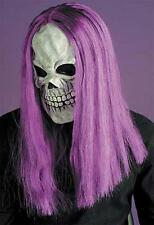 Maschera Teschio Con Capelli Viola Scheletro Horror, Halloween Fancy Dress