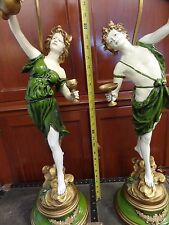 Large Pair of L & F Moreau Metal Spelter Lamps Man & Woman Pouring Wine 33""