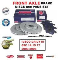 FRONT AXLE BRAKE PADS + DISCS (290mm) for IVECO DAILY III 65C 14 15 17 2003-2006