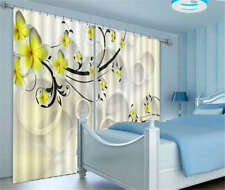 Tender Yellow Flower 3D Blockout Photo Curtain Print Curtains Fabric Kids Window
